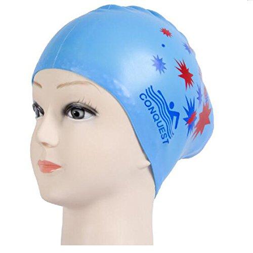 Glield Badekappe Classic Silicone Lange Haare für Frauen oder Mädchen YM01 (sky blue music)