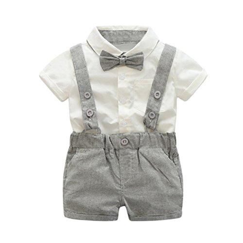 Boys Hosenträger Bow Tie (Tefamore 3pcs Kids Baby Boys Summer Gentleman Bowtie Kurzarm Hemd + Hosenträger Shorts Set Grau (36 M))
