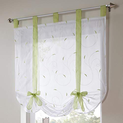 Souarts Grün Stickerei Blumen Transparent Gardine Vorhang Raffgardinen Raffrollo Schlaufenschal Deko für Wohnzimmer Schlafzimmer Studierzimmer 100x140cm
