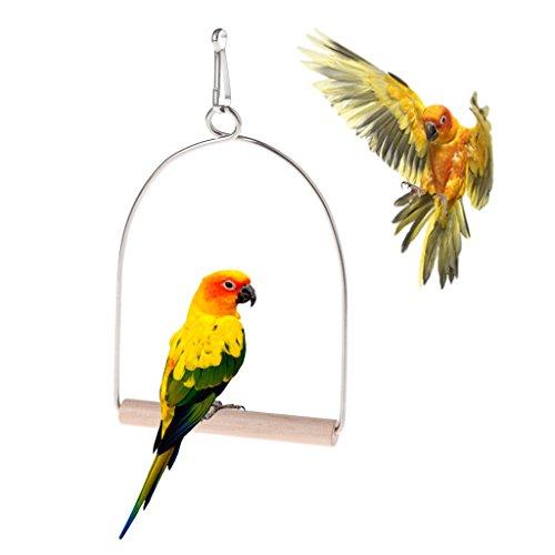 Cuigu Oiseaux en Bois Naturels Perroquets Perroquets Suspendus Balançoire Cage Oiseaux Jouets
