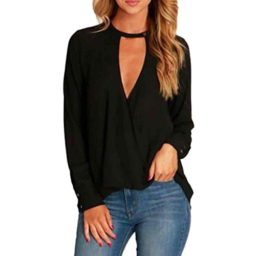 Hevoiok Damen Oberteile Mode Sexy Freizeit Frühling Choker V Ausschnitt Hemdbluse Einfarbig Knopf Langarm Bluse Tops T-Shirt (Schwarzer, L) (Top V-ausschnitt Spitze Sexy Schwarz)