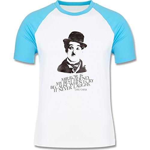 Vintage - Charlie Chaplin - mirror is my best friend - zweifarbiges Baseballshirt für Männer Weiß/Türkis