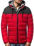 OZONEE Herren Winterjacke Parka Jacke Kapuzenjacke Wärmejacke Wintermantel Coat Wärmemantel Warm Modern Täglichen 777/318K ROT M