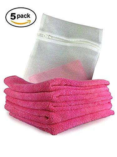 prodotti-viridis-confezione-da-5-di-rosa-cucina-panni-in-microfibra-completo-con-mesh-wash-bag-tessu