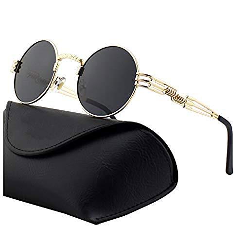 DL-forever Retro Sonnenbrille im Steampunk Stil, runder Metallrahmen, polarisiert, für Frauen und Männer, UV400 (B Gold frame Grau lens)