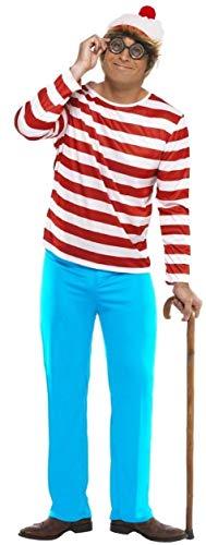 Wally Wenda Kostüm - Familie Herren Damen Jungen Mädchen Kinder wo Ist Wally Waldo Wenda Büchertag Paar Halloween Prty Kostüm Verkleidung Outfit - Herren, Small