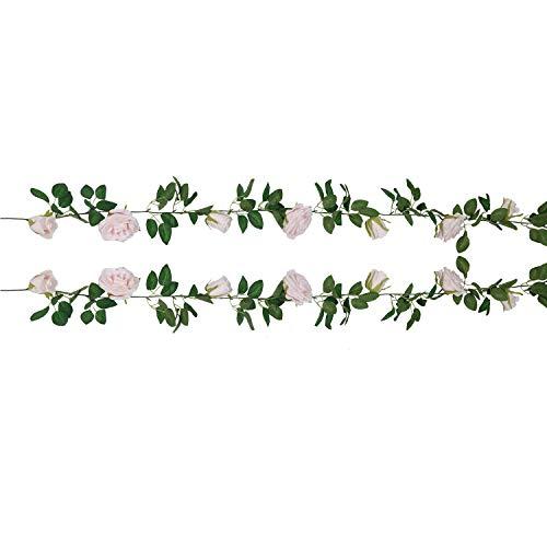 U'Artlines 2,0m Künstliche Rose Vine 5 Blüten und 4 Knospen Seidenblume Girlande Blumenampeln Pflanzen Home Outdoor Hochzeit Bogen Garten Wand-dekor(2er Hell-Pink) (Wand-dekor-garten)