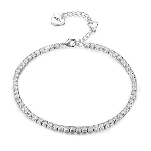 J. Fée Bracelet en Argent Plaqué Argent 5 A Cristaux de...