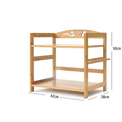 LPZ Regal-Mikrowellenherd-Regal-Küchen-Boden-Stand-Bambusholz-Regal-Speicher-Regal LPZV (größe : 42 * 35 * 50CM (Double Layer)) (Kuchen Stand Double)