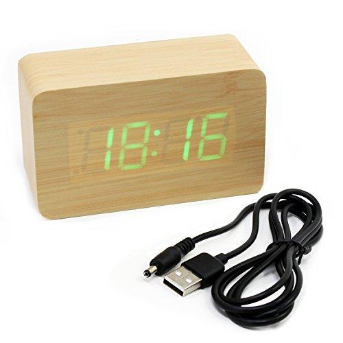 Asueel helles Holz Time Clock Temperatur LED Lichtwecker Schreibtisch Bamboo Thermometer Taktgeber mit Sound Control Control Bambus