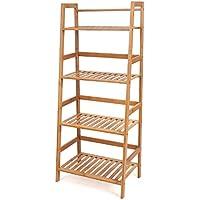 HOMFA Estantería Baño de Bambú Estantería Almacenaje para libros plantas con 4 estantes 48 x 32x 116cm - mueblesdebanoprecios.eu - Comparador de precios
