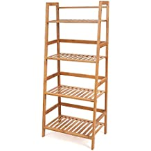HOMFA Estanterías de almacenamiento de Bambú Estanteria de libros con 4 baldas para Hogar 48 x 32x 116cm