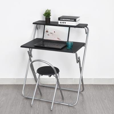 Computer Schreibtisch und Stuhl Set, zusammenklappbar, warmcentre Tragbarer Home Office Laptop Schreibtisch mit Stuhl, platzsparend, Schwarz (Computer-schreibtisch Und Stuhl-set)