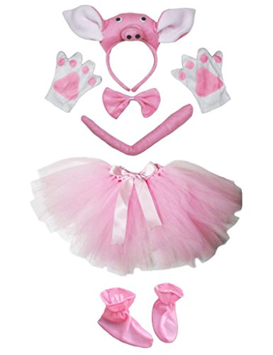 3D Pig Headband Bowtie Tail Gloves Shoes Pink Tutu 6pc Girl Costume Party (One (Baby Pig Halloween Kostüme)