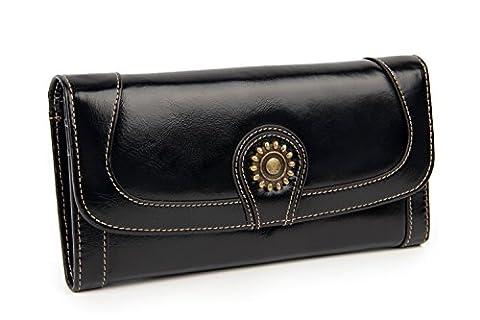 Unisexe Femmes Hommes Cuir véritable Portefeuille Longue Rétro Carte Téléphone Noir Mode Titulaire Bourse Haute Capacité Sac à main