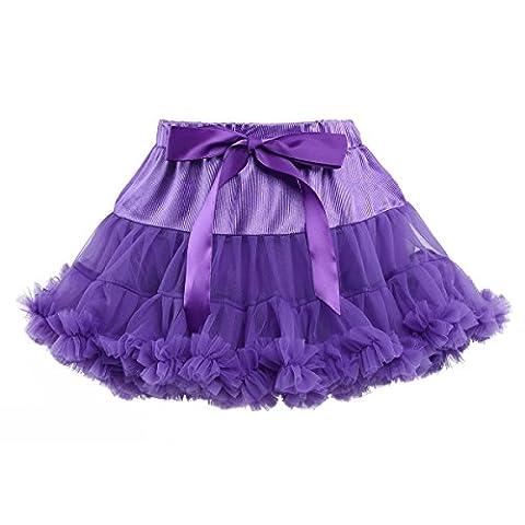 YiZYiF Mädchen Kinder Tüllrock Petticoat Ballettrock Ballettröckchen Retro Rock Prinzessin Kleid Tütü Röcke Kostüm Lila (Prinzessin Gekräuselten)