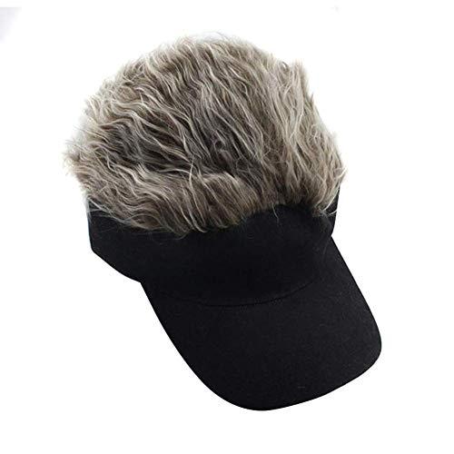 Huaheng 1 Stück Perücke Baseballkappe Sonnenblende Kappe mit mit Spikes Haar Winter Warm Außen Kappen - Hellbraun