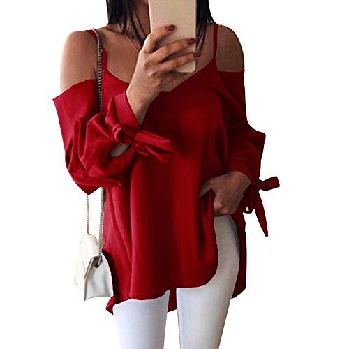 BEARCOLO Damen Bluse in Übergröße, lockere Bluse mit V-Ausschnitt, schulterfrei, Sommer-Schleife, Manschette, Weibliches Hemd, rot, Large