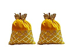 designer gotta patti velvet indian potli with ethnic drawstring bag for wedding/festival/occasson/gifting/women bag -yellow color with set of 2 -L 18.5CM/H 23CM - LARGE SIZE