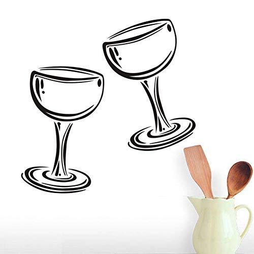 GUDOJK Wandaufkleber Zwei Gläser Wein Champagner Wandtattoo Vinyl Aufkleber Restaurant Innenarchitektur Kunst Wandbilder Dekor Küche Abziehbilder Poster -