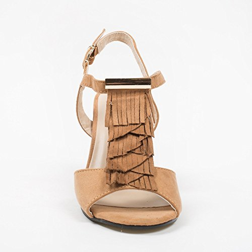 Ideal-Shoes Sandali con Lama spessa, effetto pelle con frange Loreane Marrone (Cammello)