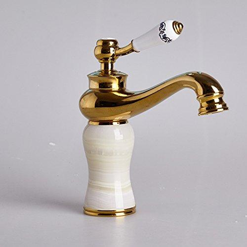 Preisvergleich Produktbild LppkzqEuropean retro Kupfer vergoldet Porzellan Hahn Waschbecken heißes kurz kurz Armaturen, Yulongtou