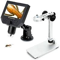 Qkfly - Microscopio digital portátil con lupa USB (3,6 MP, zoom de sensor de 600 x 4,3 pulgadas, kit LCD 1080P/720P/VGA, cámara estéreo, Microscopio Vedio, con soporte de metal, para inspección QC/Industrial/Collection, multiusos)