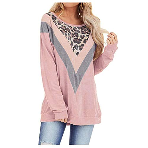Frauen Tunika Tops Bluse Leopardenmuster Lose Baggy Pullover Tops Langarm Rundhals T-Shirt Blusen -