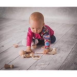 Heuristischer Schatzkorb aus Holz für Babys seit 6 Monaten. Sensorisches spielmaterial