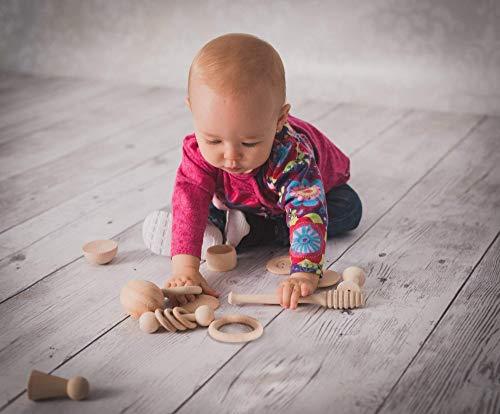 Cesto Tesoros Montessori 14 piezas madera, juego bebé