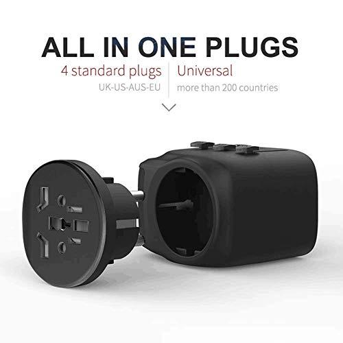 Universal Reiseadapter Reisestecker, 2 USB Ports International Ladegerät, AC Steckdose Stromadapter mit selbstrückstellender Sicherung für Weltweit Reisen in US/UK/EU/AU über 150 Ländern (Schwarz)