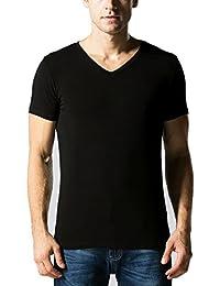 Liang Rou Men's Mini-Ribbed Stretch V-Neck T-Shirts
