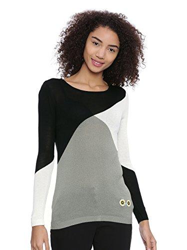 Chumbak Colour Block Black Knit Pullover