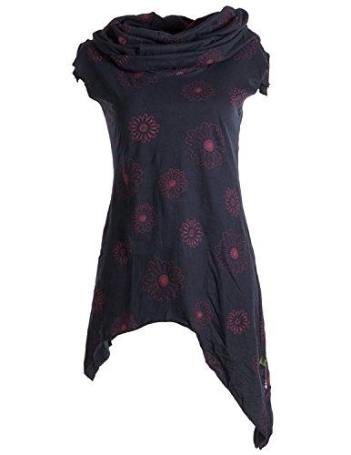 Vishes - Alternative Bekleidung – Bedrucktes Kleid aus Baumwolle mit Kragenkapuze schwarz-rot 42 (Kleidung Alternative)