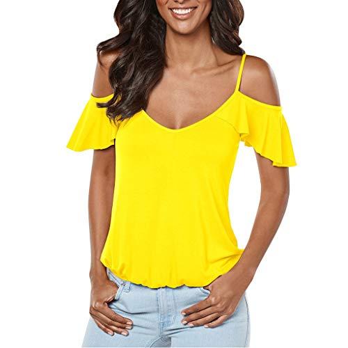 Yvelands Damen T-Shirt kalte Schulter-Rückseiten-Kreuz-T-Shirt Damen-Sommerferien übersteigt Bluse(Gelb,XXXL)