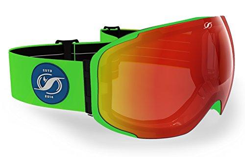 Gafas de esquí con tecnología Magnet de lentes intercambiables. El cambio de lentes más rápido del mercado, gracias al poder del imán te permitirá cambiar tus lentes en menos de 2 segundos. - Estructura en acabado verde mate - Lentes incluidas: Naran...