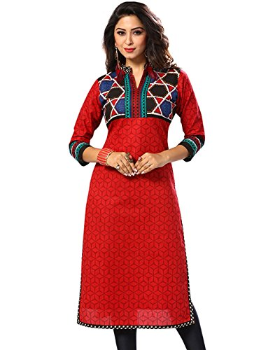 Jevi Prints Women's Unstitched Cotton Red Geometric Printed Kurti Fabric (Fabric only...
