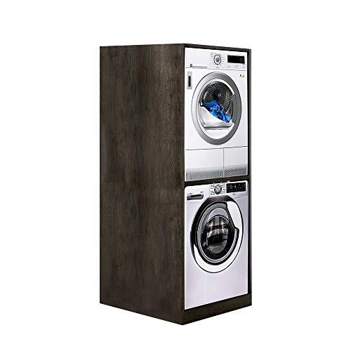 UNIKA - Colonna per inserimento lavatrice e asciugatrice senza ante L70 x P68 x H1,74 (Olmo Naturale)