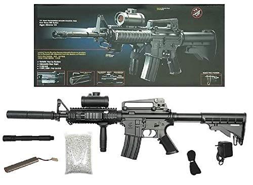 KOSxBO® Set: Elektrische Softair - Gewehr Schnellfeuerkarabiner Airsoft mit Akku, Metalllauf, Tragegurt - Stärke 0.5 Joule Ink. Munition