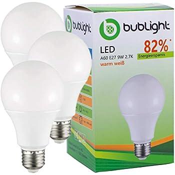 3 x bublight Bombilla LED E27 9 W, equivalente a bombilla de 50 W, clase energética A +, 2700 K, luz blanca cálida (S de a + +)