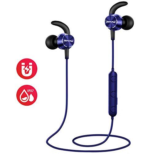 Mpow Flame Bluetooth Kopfhörer, IPX7 Wasserdicht Kopfhörer Sport, 7-10 Stunden Spielzeit/Bass+ Technologie, Sportkopfhörer Joggen/Laufen Bluetooth 4.1, In Ear Kopfhörer mit Mikrofon für iPhone Android thumbnail