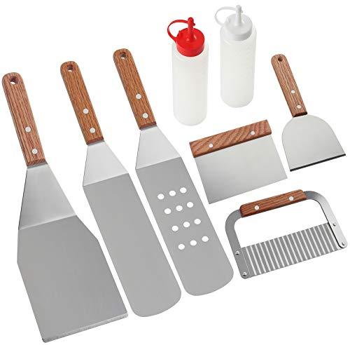 8Pcs Kit Accessoires Barbecue - Plaque de Cuisson Professionnelle en Acier Inoxydable Robuste Spatules pour Barbecue - Idéal pour Teppanyaki, Grillades et Plaques de Cuisson - Kit Cadeau Grill