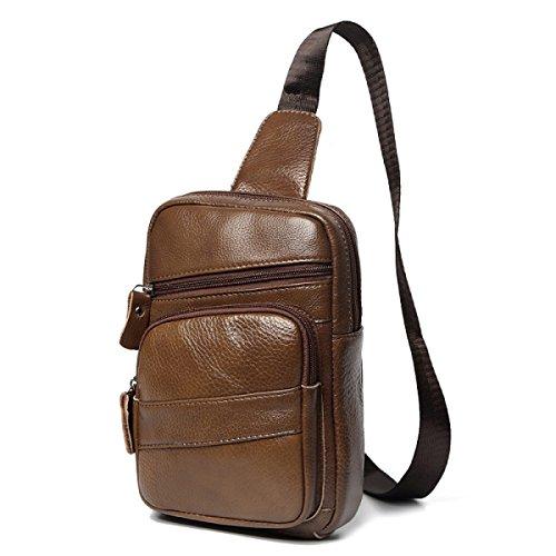 BULAGE Pack Brustbeutel Männer Und Frauen Die Erste Schicht Leder Leder Mode Wild Freizeit Business Langlebig Wasserdicht Atmungsaktiv Brown