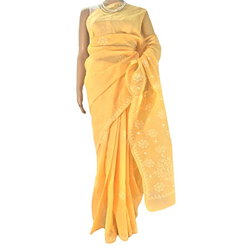 R'ZU Mango Yellow Cotton EthnicLucknowi Chikan Sari