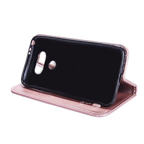 SainCat Coque Etui pour LG G5, LG G5 Coque Dragonne Portefeuille PU Cuir Etui, Coque de Protection en Cuir Folio Housse, SainCat PU Leather Case Wallet Flip Protective Cover Protector, Etui de Protect Deux côté Rose-Or Rose