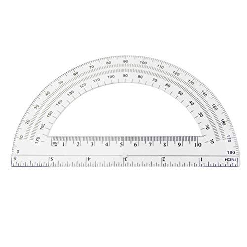 STOBOK Transportador plástico del semicírculo 16pcs 180 grados para la medida del ángulo el 15cm