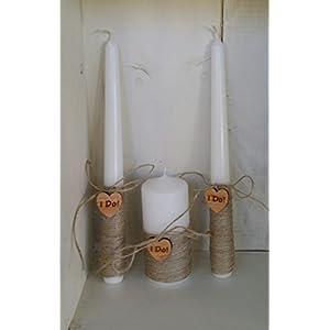 Rustikale Hochzeit Kerzen, 3er Set, Sackleinen und Spitze, modern und elegant, ein wesentliches Detail der Hochzeit.Set von 3 Kerzen Hochzeiten als Rustikalen. Dekoriert Mit Sackleinen, Digan, Weisser