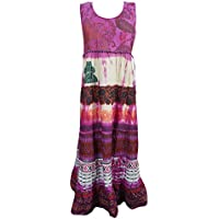 Mogul Interior Emelda Women Sundress Printed Sleevless Flared Cotton Elegant Summer Fshion Dresses S/M