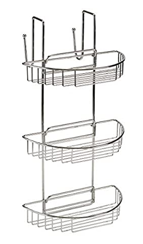 BC Non Rust Over Door Stainless Steel 3 Tier Shower Caddy Organiser Shelf Rack by Blue Canyon