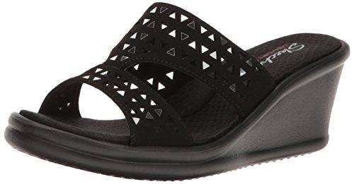 Skechers Cali Women's Rumblers Urban Static Wedge Sandal, Black Cutout, 8 M US Cut-out Wedge Sandals
